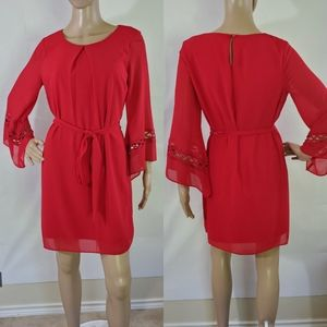 By & By Red Lace Bell Sleeves Pleated Mini Dress